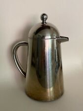 VINTAGE FRENCH SILVER STAINLESS DOUBLE WALL FRENCH PRESS COFFEE / MADE IN FRANCE