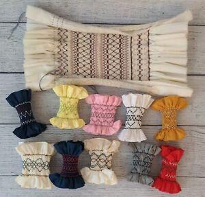 Handmade Smocked Napkin Rings / Samples - lot of 11