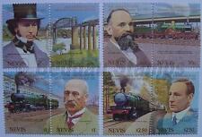 1985 NEVIS GWR Engineer Set Train Locomotive Stamps (Great Western Railway 150)