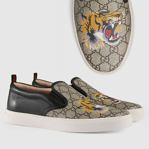 GUCCI SHOES MENS DUBLIN GG SUPREME TIGER SLIP ON SNEAKERS WEB PULL $580 14.5G 15
