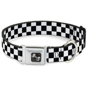 Buckle Down Seatbelt Dog Collar Checker Black/White 20304-s  Made in USA Small