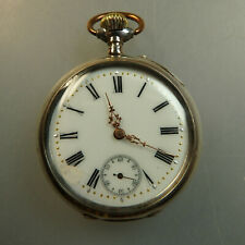Schwere offene Herrentaschenuhr Silber um 1900 (55866)