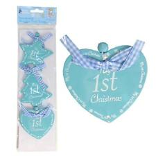 3 Wood My 1st Christmas Tree Decorations Heart Star Tree - Blue