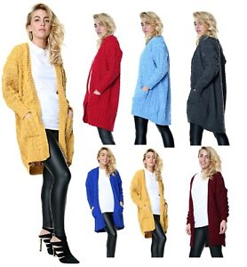 Women's & Ladies Oversize Baggy Chunky Cable Knitted  Long Cape Cardigan Top