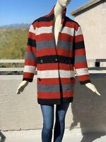 Irregular ISABEL MARANT ÉTOILE striped wool-blend bouclé coat