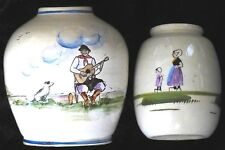 """VINTAGE FRENCH? POTTERY JARS/VASES~HAND PAINTED IN GLAZE~4-1/2&5-1/2""""~EXCELLENT!"""