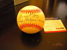 LONNY FREY BROOKLYN DODGERS AUTOGRAPHED BASEBALL PSA/DNA