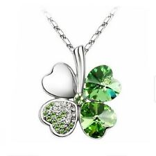 Austrian Crystal Four Leaf Clover Shamrock Pendant Necklace White Gold Plated