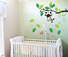 Swing monkey Tree Branch Art Removable Vinyl Wall Stickers kids Nursery Decor