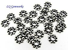 100 Sterling Silver 6.5mm Daisy Spacer Beads