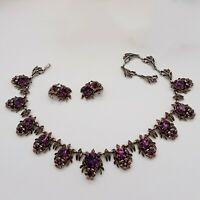 Vintage HOLLYCRAFT 1954 Amethyst Rhinestone Necklace and Earrings Set. Stunning