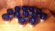 SET 12 VINTAGE QUEEN ART MID-CENTURY MODERN PEWTER BASED COBALT BLUE PUNCH GLASS