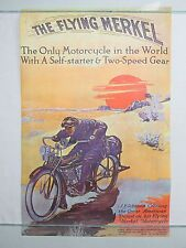 Vintage 1972 Poster THE FLYING MERKEL Motorcycle JP Schantin Mini 17x11 NOS RARE