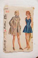 Simplicity 2441 Bathing Suit Swimsuit 1940s Vintage Sewing Pattern Bust 34 UNCUT