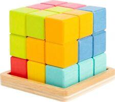 Pequeño pie 3D Tetris Cube Rompecabezas Destreza y juegos de equilibrio 11346 Juguete De Madera