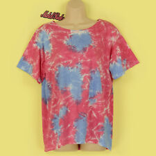 NEW PINK, BLUE & WHITE TIE DYE SOFT STRETCHY SHORT SLEEVE SUMMER TOP SIZE SMALL
