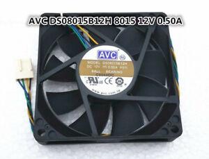 AVC DS08015B12H 12V 0.50A 8015 8cm 4-pin double ball temperature control fan