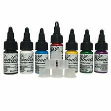 Skin Candy Tattoo Ink Set w 7 Color Ink .5Oz Each & 20 Stable Ink Caps