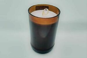 Strawberry Upcycled Amber Hand Cut Glass Soy Candle, 10 oz.