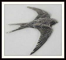 Superb Pewter Swallow Brooch Pin : Craftsman Signed