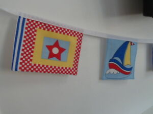 seaside nautical / flags boys Fabric party/play Bedding Bunting 8 flags