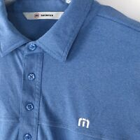 Mens Travis Mathew Golf Polo Shirt Blue Short Sleeve Size Large Tournament Club