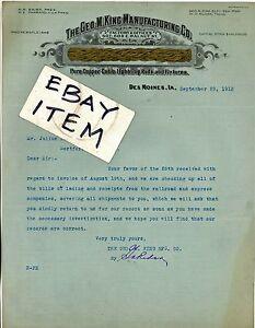 1913 letterhead DES MOINES IOWA George M King Mfg. LIGHTNING RODS Baird Farrand