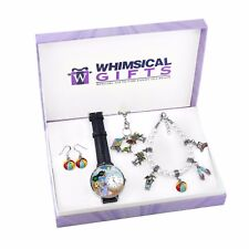 Summer Fun in the Sun Silver 4-piece Watch-Bracelet-Necklace-Earrings Jewelry Se