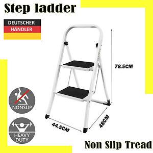Klapptritt 2 Stufen aus Stahl Tritt Hocker kleine Leiter Anti-Rutsch Load 150kg