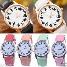 Women Casual Watch Cat Leather Band Stainless Steel Analog Quartz Wrist Watches