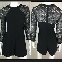 $158 Adelyn Rae Womens XS Black Stretch Beaded Lace Romper Pockets Anthropologie
