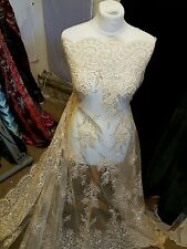 "1M new gold BRIDAL SCALLOPED LACE EMBRIOUDED SEQUIN FABRIC 58"" WIDE"