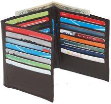 Mens European Cowhide Brown Leather Trifold Mens Wallet 2 Id-20 Card Slots Brown
