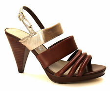M&S Autograph Womens UK 5.5 Brown & Gold Leather High Heel Strappy Shoes Sandals