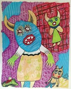 Oh No Monsters Folk Art Giclee Print 11x14 Signed Artist KSams Limited Edition