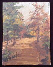 Vintage Landscape Painting Forest Trail Path Bridge Fall Colors Oil
