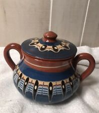 Bulgarian Terracotta Pottery Soup Casserole Dish Baking Pot Blue Peacock Eye