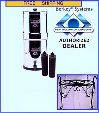 Travel Berkey Water Filter w 2 Black Filters & 1 Free Black Metal Counter Stand