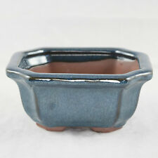 "Rectangular Dark Blue Cut-In Corners Glazed Shohin Bonsai Pot  5""x 4.25""x 2.25"""