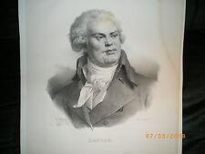 Grand Portrait de DANTON - Litho de Delpech - 1825.