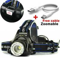 18650 Headlamp Tactical 60000LM T6 LED Zoomable Hiking Torch Headlight & USB
