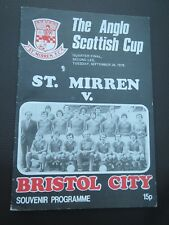 St Mirren V Bristol City   1978/9