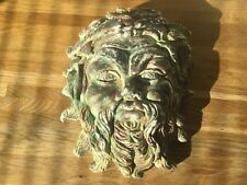 """CHALK-WARE / PLASTER OLD  CHINESE MANS HEAD WALL MASK  9"""" X 7.5"""""""