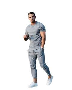 Men's Tracksuit Sets Short Sleeve T-shirt Long Pants Sports Summer Suits