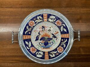 Antique Sterling Silver mounted Coalport 'Shanghai' pattern plate with handles
