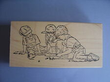 PEDDLERS PACK RUBBER STAMPS KIDS PLAYING MARBLES STAMP
