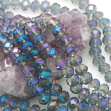 36 pcs 10mm Chinese Crystal Glass Loose Beads Faceted Rondelle Smoky half Blue