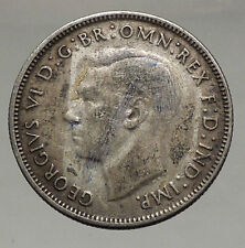 1943 AUSTRALIA - FLORIN Large SILVER Coin King George VI Coat-of-Arms i56683