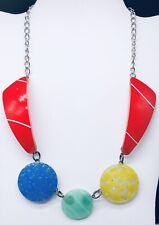 Vintage Handmade Abstract Colorful Plastic Necklace on Silver Tone Chain