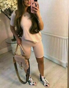 Ladies Oversize T shirt Cycling Shorts Co Ord Womens Lounge Wear Tracksuit Set